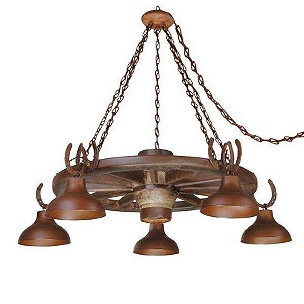 Lustre Madelustre 425 Roda de Carroça Estancia Rustico Madeira Natural Metal de Fundição 5 lamp. envelecido Sala de Jantar Quarto e Cozinha