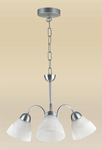 Lustre Madelustre Alumínio Escovado Cúpula Tulipa Vidro Alabastro Branco 3 Lamp. Ø49cm E-27 2078-3   Sala de Jantar Quarto e Cozinha