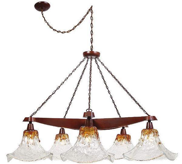 Lustre Madelustre Madeira Natural Maciça Rústica Cúpula Vidro Âmbar 5 Lamp. Ø1,25x2,30 Ômega E-27 2539   Sala de Jantar Quarto e Cozinha