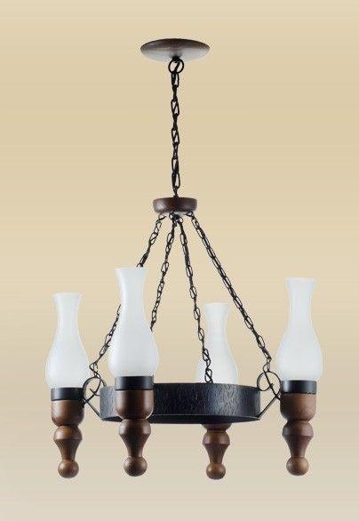 Lustre Madelustre Rústico Madeira Natural Maciça Esculpida Metal Envelhecido 4 Lamp. Ø55x1m Colonial E-27 2447   Sala de Jantar Quarto e Cozinha