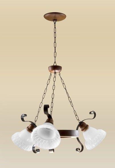 Lustre Madelustre Rústico Madeira Natural Maciça Imbuia Vidro Fosco 3 Lamp. Ø67x1m Sombrero E-27 2099-3   Sala de Jantar Quarto e Cozinha
