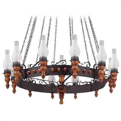 Lustre Madelustre Rústico Madeira Natural Metal Envelhecido Vidro Fosco 13 Lamp. Ø1,25x2,30m Medieval E-27 60018   Sala de Jantar Quarto e Cozinha