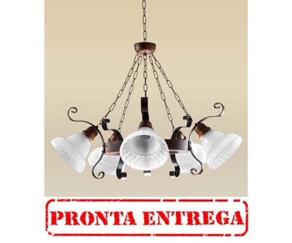 PRONTA ENTREGA / Lustre Madelustre Rústico Metal Envelhecido Cúpula Vidro Fosco 5 Lamp. Ø76x1m Sombrero E-27 2099-5   Sala de Jantar Quarto e Cozinha