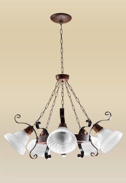 Lustre Madelustre Rústico Metal Envelhecido Cúpula Vidro Fosco 5 Lamp. Ø76x1m Sombrero E-27 2099-5   Sala de Jantar Quarto e Cozinha