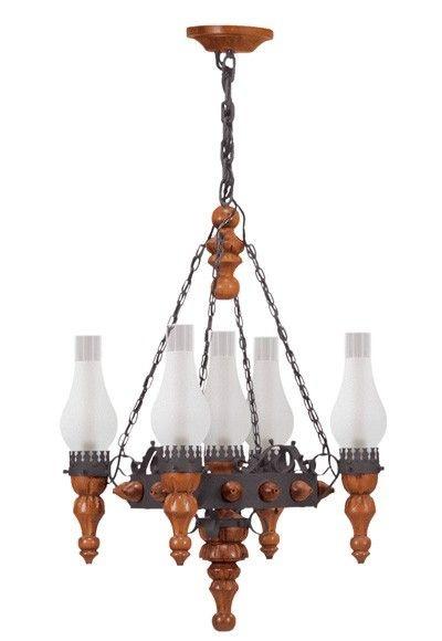 Lustre Madelustre Rústico Estilo Antigo Madeira Natural Esculpida Metal Envelhecido 5 Lamp. Ø58x1m Medieval E-27 60017   Sala de Jantar Quarto e Cozinha