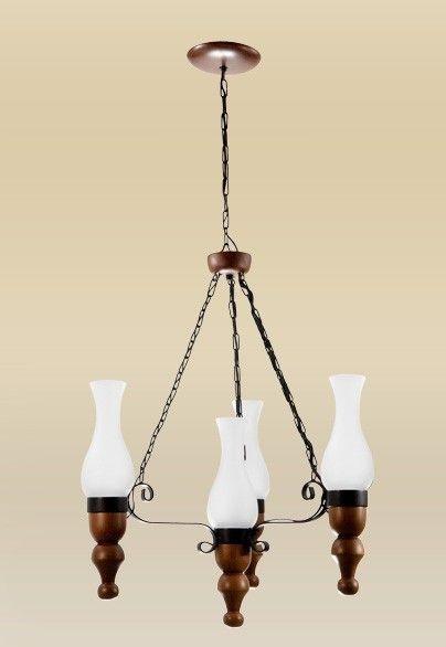Lustre Madelustre Rústico Estilo Antigo Madeira Natural Maciça Esculpida Cúpula Vidro 4 Lamp. Ø50x1m Roma E-27 2095-4   Sala de Jantar Quarto e Cozinha