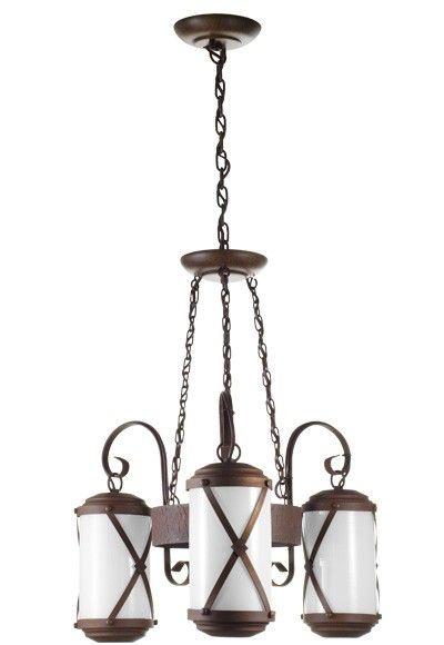 Lustre Madelustre Rústico Estilo Antigo Metal Envelhecido envelecido Vidro Leite 3 Lamp. Ø50x1m Império E-27 2463.3   Sala de Jantar Quarto e Cozinha
