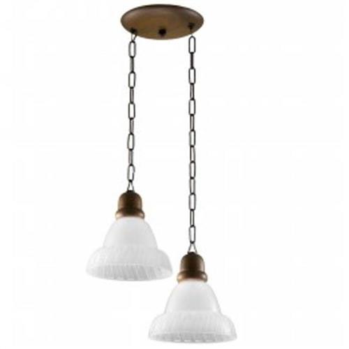 Pendente MadeLustre 2097/2 Sombrero Madeira Natural Rustica Estilo Antigo Metal de Fundição 2 Lamp. 1m Sala de Jantar Quarto e Cozinha