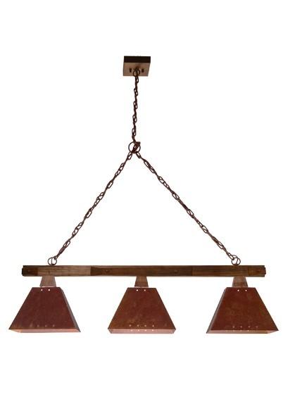 Pendente MadeLustre 2143/3 Trilho Napoli Estilo Antigo Rustico Madeira Natural Metal de Fundição 3 lamp envelecido 1,50m Sala de Jantar Quarto e Cozinha