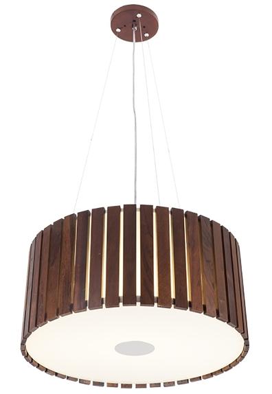 Pendente MadeLustre 2555 Castor Madeira Natural Lustre Rustico Redondo Ø 44cm 3 Lamp. Sala de Jantar Quarto e Cozinha