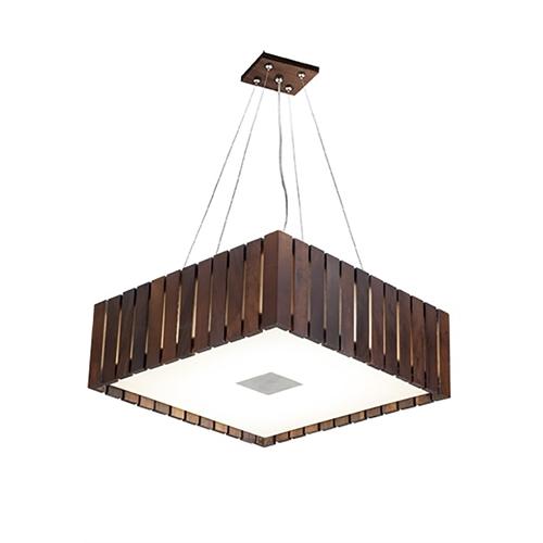 Pendente MadeLustre 2568 Madeira Natural Lustre Rustico Castor 42 x 42 cm 4 Lamp. Sala de Jantar Quarto e Cozinha