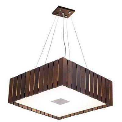 Pendente MadeLustre 2569 Madeira Natural Lustre Rustico Castor 53 x 53 cm 6 Lamp. Sala de Jantar Quarto e Cozinha