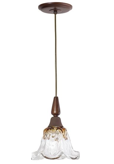 Pendente MadeLustre 2594/90 Country Estilo Antigo Rustico Vidro Floral 1 Lamp. 1,30m Sala de Jantar Quarto e Cozinha