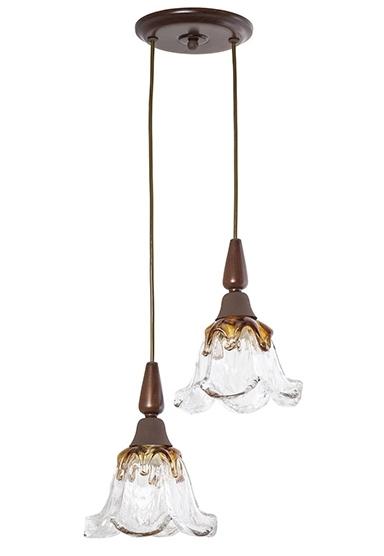 Pendente MadeLustre 2595/90 Country Estilo Antigo Rustico Vidro Floral 2 Lamp. 1,30m Sala de Jantar Quarto e Cozinha