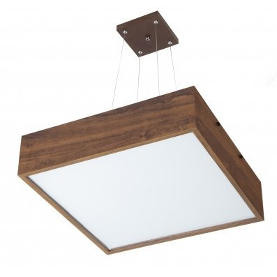Pendente MadeLustre 2639 Adhara Madeira Natural Lustre Quadrado Cristal 52 x 52 cm 4 Lamp. Sala de Jantar Quarto e Cozinha