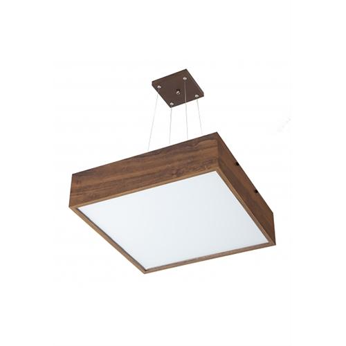 Pendente MadeLustre 2640 Adhara Madeira Natural Lustre Quadrado Cristal 62 x 62 cm 6 Lamp. Sala de Jantar Quarto e Cozinha