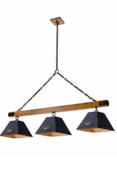 Pendente MadeLustre 2855PD TRILHO Madeira Natural Metal Rustico Estilo Antigo ALP 3 Lamp.S Sala de Jantar Quarto e Cozinha