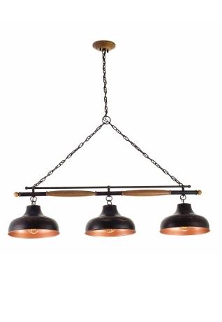 Pendente Madelustre 2858PC TRILHO Duplo BROOKLYN Madeira Natural Metal Rustico Estilo Antigo 3L 1,5mx75cmx30xcm Sala de Jantar Quarto e Cozinha