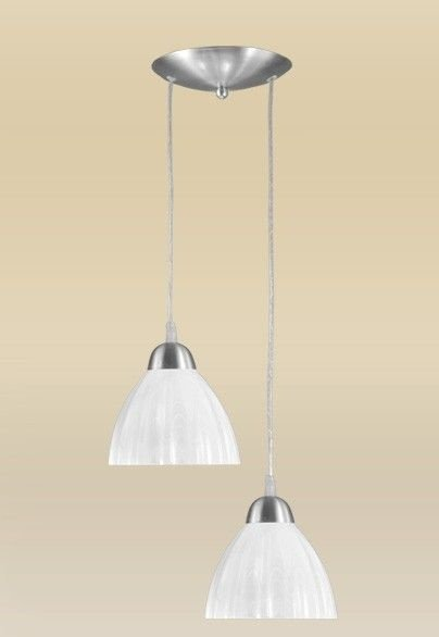 Pendente Madelustre Duplo Alumínio Escovado Cúpula Vidro Alabastro 2 Lamp. Ø18cm Vesuvio E-27 2069-2   Sala de Jantar Quarto e Cozinha