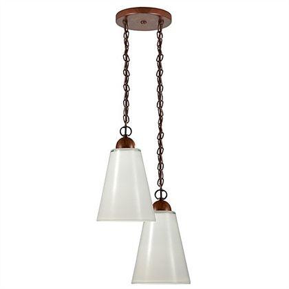 Pendente Madelustre Duplo Rústico Madeira Natural Maciça Cúpula Cone Vidro 2 Lamp. 24x36 Florença E-27 2235-2   Sala de Jantar Quarto e Cozinha