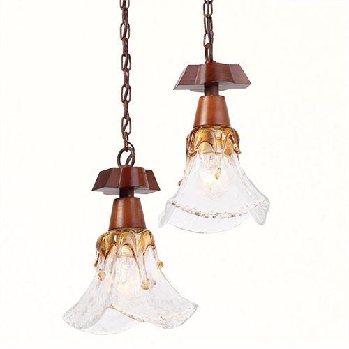 Pendente Madelustre Duplo Rústico Madeira Natural Maciça Luminária Vidro Âmbar 2 Lamp. 30x24 Ômega E-27 2541   Sala de Jantar Quarto e Cozinha