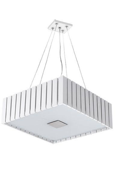 Pendente Madelustre Quadrado Branco Regulável Madeira Natural Maciça Rústica 6 Lamp. 53x53 Castor E-27 2569-Br   Sala de Jantar Quarto e Cozinha