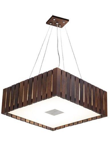 Pendente Madelustre Quadrado Madeira Natural Maciça Imbuia Rústica 4 Lamp. 42x42 Castor E-27 2568-Im   Sala de Jantar Quarto e Cozinha
