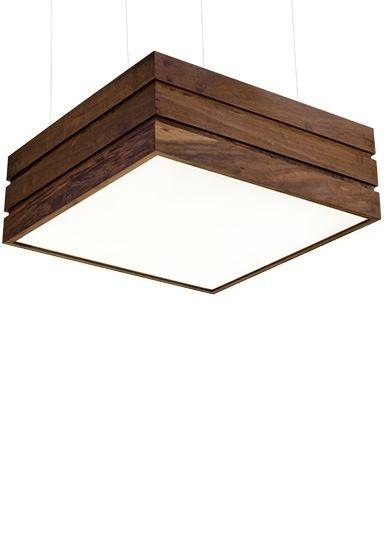 Pendente Madelustre Quadrado Regulável Madeira Natural Maciça Imbuia Rústica 6 Lamp. 60x60 Adhara E-27 2517-I   Sala de Jantar Quarto e Cozinha