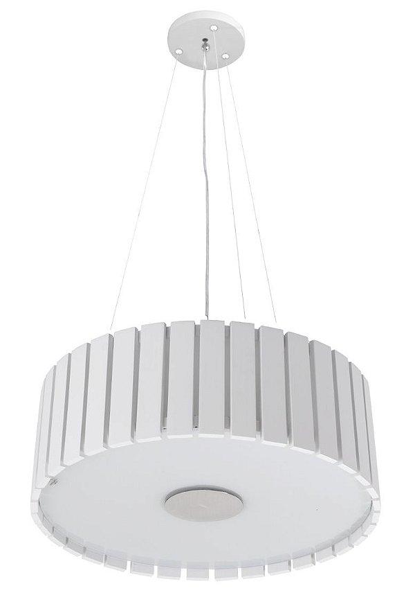 Pendente Madelustre Redondo Branco Regulável Madeira Natural Maciça Rústica 4 Lamp. Ø54x1,50 Castor E-27 2556-Br   Sala de Jantar Quarto e Cozinha