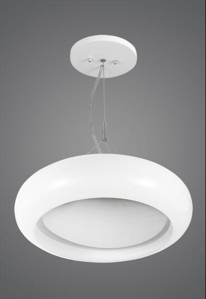 Pendente Madelustre Redondo Vidro Leite Fosco Acetinado 3 Lamp. Ø45cm Acrux E-27 2495   Sala de Jantar Quarto e Cozinha