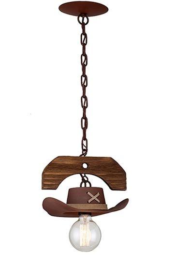 Pendente Madelustre Rústico Cúpula Chapéu Madeira Natural Maciça Metal Envelhecido Cowboy E-27 2619   Sala de Jantar Quarto e Cozinha