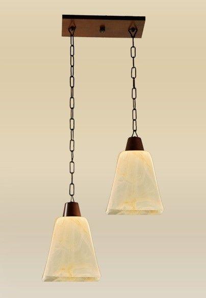 Pendente Madelustre Rústico Duplo Madeira Natural Âmbar Cúpula Vidro Acetinado 2 Lamp. 30x34 Quadrato E-27 2101-2   Sala de Jantar Quarto e Cozinha