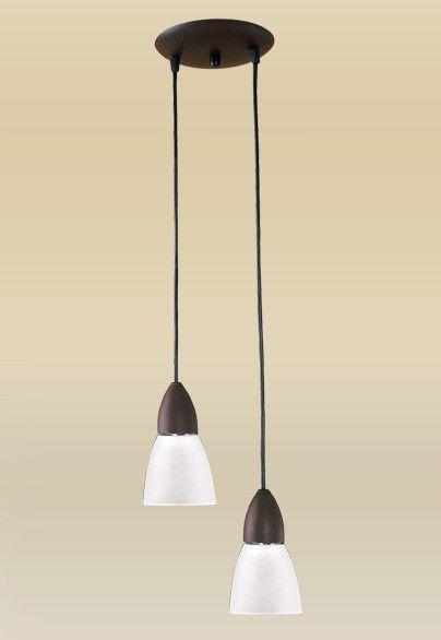 Pendente Madelustre Rústico Duplo Madeira Natural Maciça Tabaco Tulipa Vidro 2 Lamp. Ø25cm Lumi E-27 1609   Sala de Jantar Quarto e Cozinha