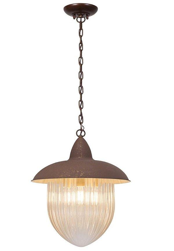 Pendente Madelustre Rústico Metal Envelhecido Vidro Âmbar 3 Lamp. 1m Veneza E-27 2582.89   Sala de Jantar Quarto e Cozinha