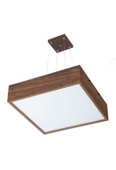 Pendente Madelustre Rústico Quadrado Madeira Natural Mdf Imbuia Difusor 4 Lamp. 52x52 Adhara E-27 2639-I   Sala de Jantar Quarto e Cozinha