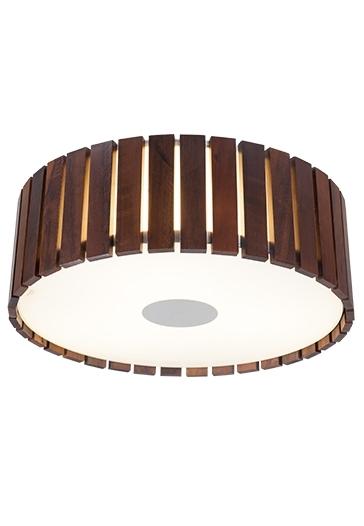 Plafon MadeLustre 2557 Castor Madeira Colonial Lustre Rustico Redondo Ø 34cm 2 Lamp. Sobrepor Sala Quarto e Cozinha