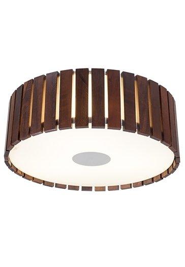 Plafon MadeLustre 2558 Castor Madeira Colonial Lustre Rustico Redondo Ø 44cm 3 Lamp. Sobrepor Sala Quarto e Cozinha