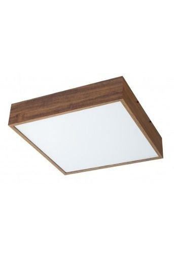 Plafon MadeLustre 2645 Adhara Madeira Colonial Lustre Quadrado Cristal 32 x 32 cm 2 Lamp. Sobrepor Sala Quarto e Cozinha