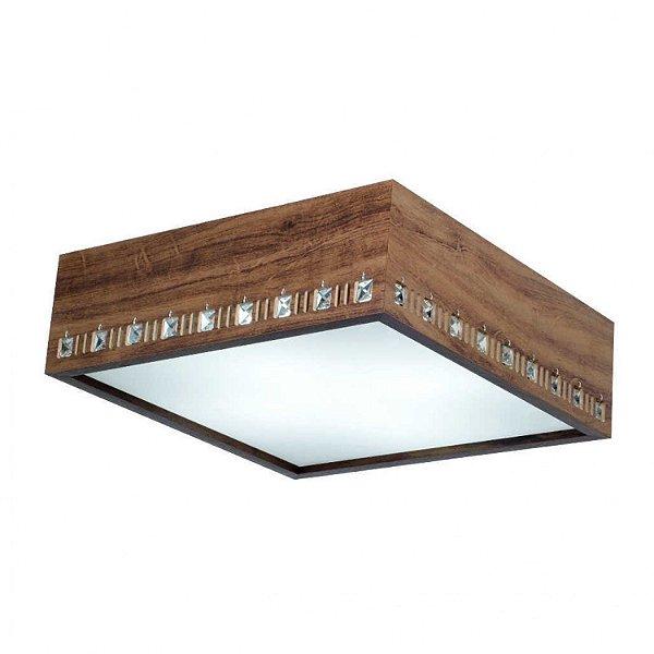 Plafon MadeLustre 2752 Adhara Madeira Colonial Lustre Quadrado Cristal 32 x 32 cm 2 Lamp. Sobrepor Sala Quarto e Cozinha