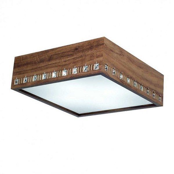 Plafon MadeLustre 2755 Adhara Madeira Colonial Lustre Quadrado Cristal Cristal 62 x 62 cm 6 Lamp. Sobrepor Sala Quarto e Cozinha
