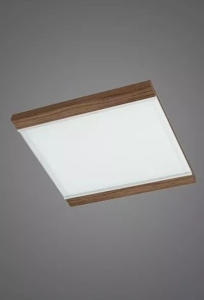 Plafon Madelustre Embutido Luminária 28x28 Madeira Colonial Vidro Sala Comercial Led 2393 Sala de Jantar Quarto e Cozinha