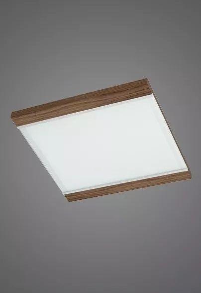 Plafon Madelustre Embutido Luminária 50x50 Madeira Colonial Vidro Sala Comercial Led 2409 Sala de Jantar Quarto e Cozinha