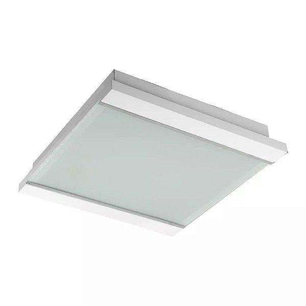 Plafon Madelustre Embutido Branco Luminária 60x60 Madeira Colonial Vidro Sala Comercial Led 2410 Sala de Jantar Quarto e Cozinha