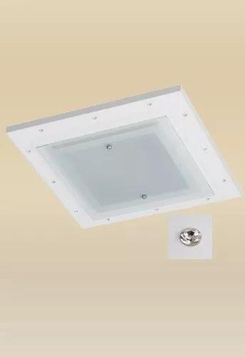 Plafon Madelustre Monalisa Embutido Branco Strass 37x37 LED 18W Quente Madeira Colonial Vidro 2335-18A-BR Sala de Jantar Quarto e Cozinha