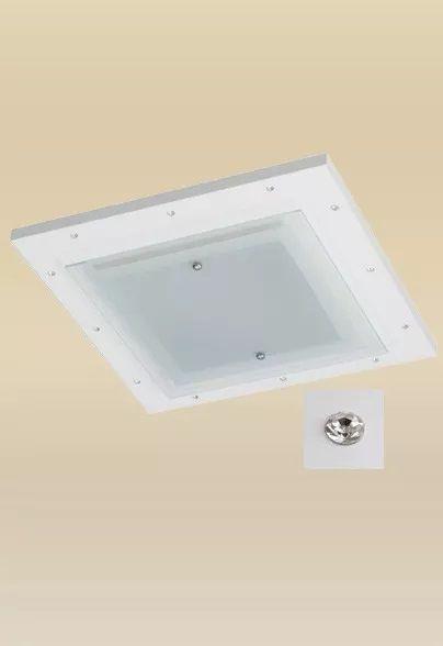 Plafon Madelustre Monalisa Embutido Branco Strass 47x47 LED 18W Quente Madeira Colonial Vidro 2336-18A-BR Sala de Jantar Quarto e Cozinha