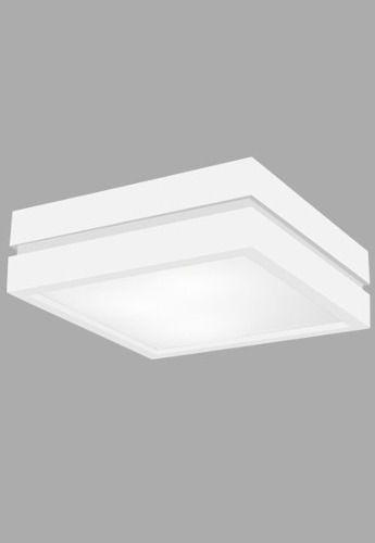 Plafon Madelustre Rústico Branco Quadrado  Madeira Colonial Maciça 52x52 Adhara 2550-B   Sobrepor Sala Quarto e Cozinha