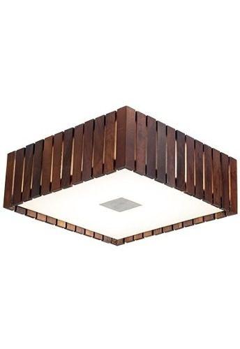 Plafon Madelustre Rústico Quadrado Imbuia Madeira Colonial Maciça 53x53 Castor E-27 2562-IB  Escritórios Sobrepor Sala Quarto e Cozinha
