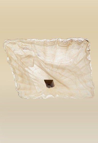 Plafon Madelustre  Vidro Alabastro Âmbar Metal Ouro 38x38 Quadrato 2116   Sobrepor Sala Quarto e Cozinha