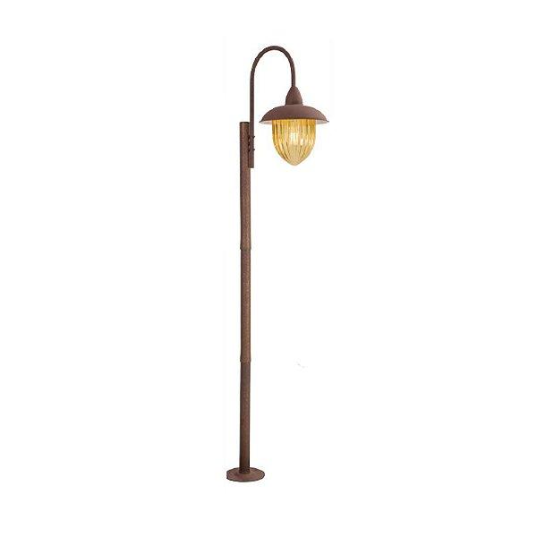 Poste de Jardim Madelustre 2589/89 Veneza Estilo Antigo Rustico Metal de Fundição Ambar 1 Lamp. 2m Sobrepor Sala Quarto e Cozinha