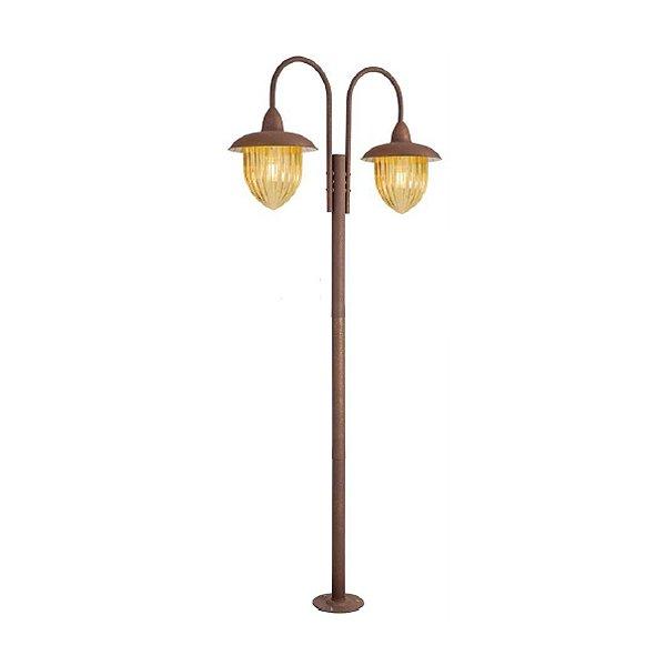 Poste de Jardim Madelustre 2590/89 Veneza Estilo Antigo Rustico Metal de Fundição Ambar 2 Lamp. 2m Sobrepor Sala Quarto e Cozinha